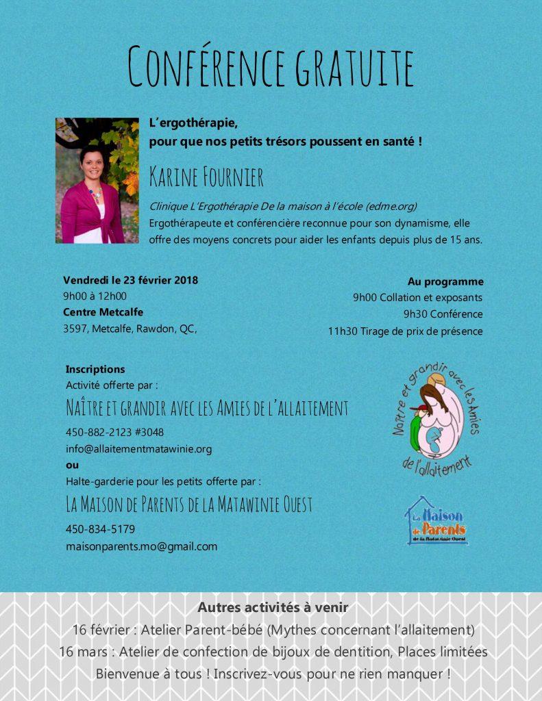 Conférence ergothérapeute allaitement Matawinie février 2018